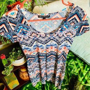 Aztec Bodycon Scoop Neck Short Sleeve Dress